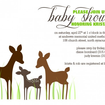 Deer Themed Baby Shower Invitations