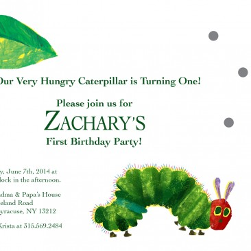 Very Hunger Caterpillar Birthday Party Invitation